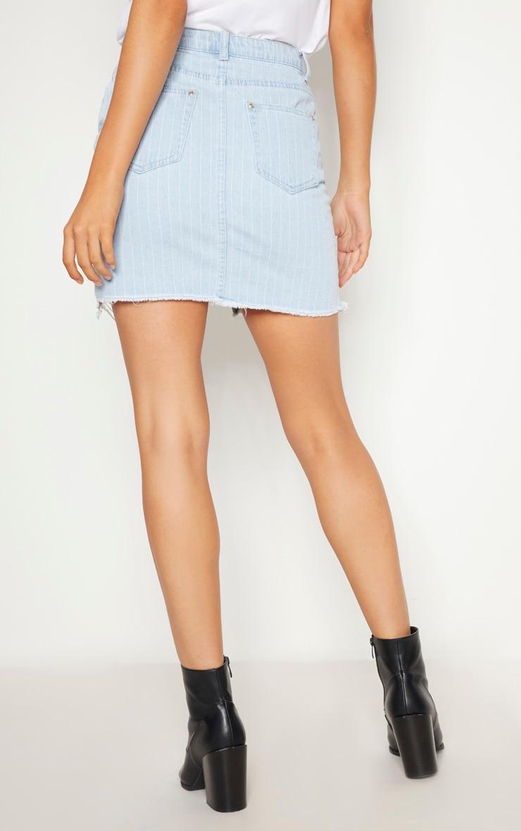 Light Wash Striped Denim Skirt  4