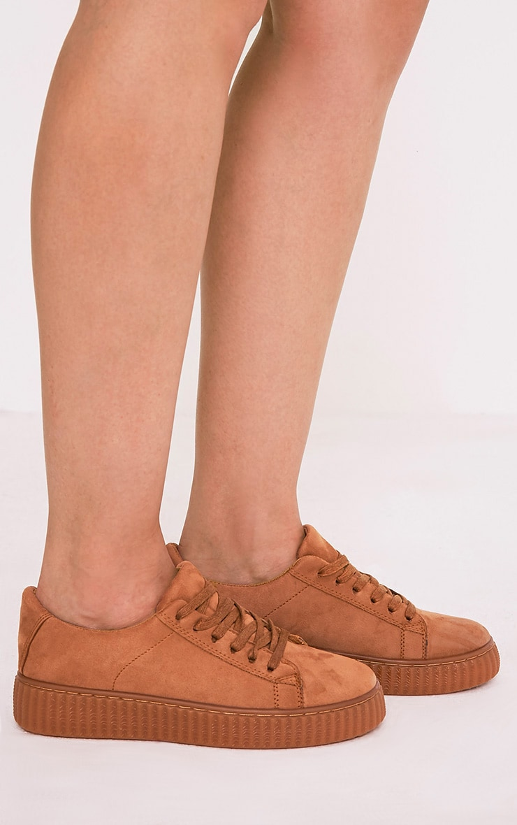Kailey Camel Faux Suede Creepers 2