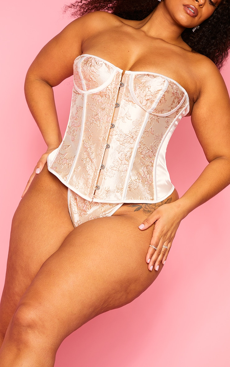Plus Champagne Embroidered Satin Corset And Thong Set 4