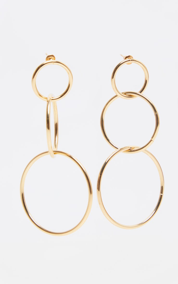 Gold Large Multi Circle Drop Earrings 2