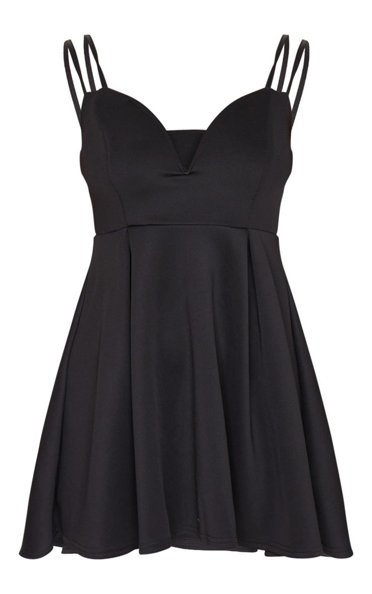 Black V Plunge Double Strap Skater Dress 5