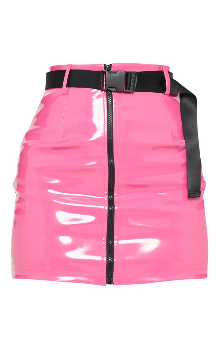 Neon Pink Vinyl Zip Front Belted Mini Skirt 3