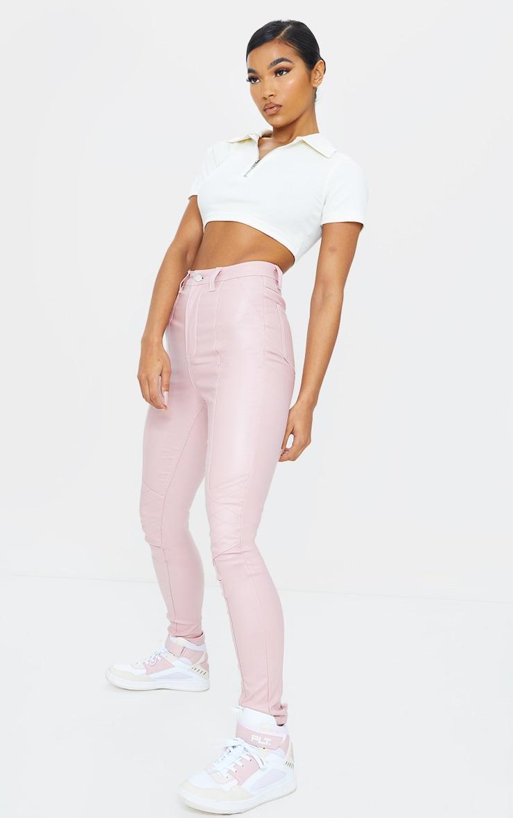 Rose Biker Coated Jeans 1