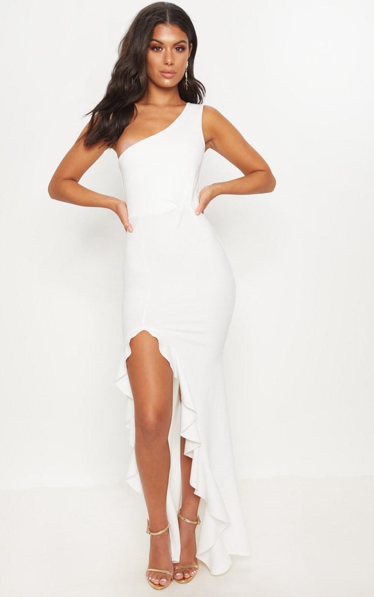 فستان طويل بحافة مكشكشة وبكتف واحد بلون أبيض 1