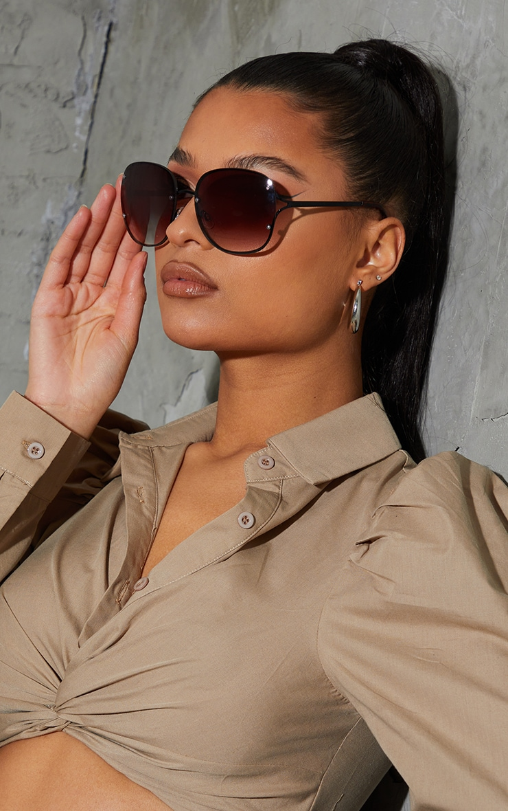 Black Rimless Oversized Rounded Sunglasses 1