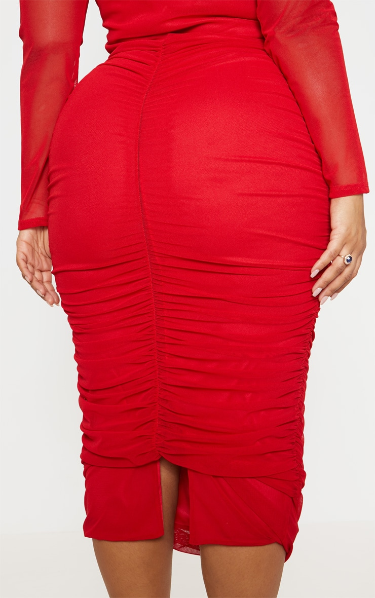 Plus Red Mesh Ruched Midi Dress 6