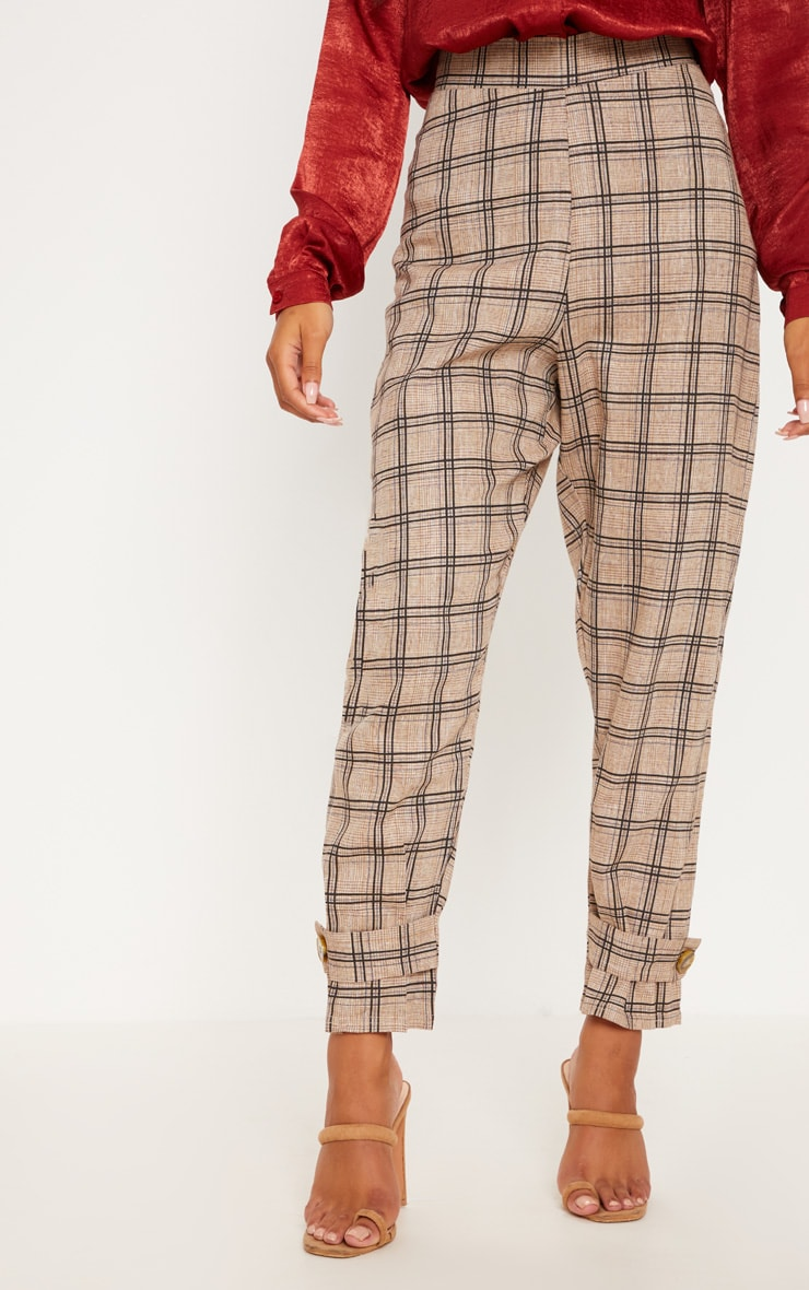 Black Check Peg Leg Trousers 2