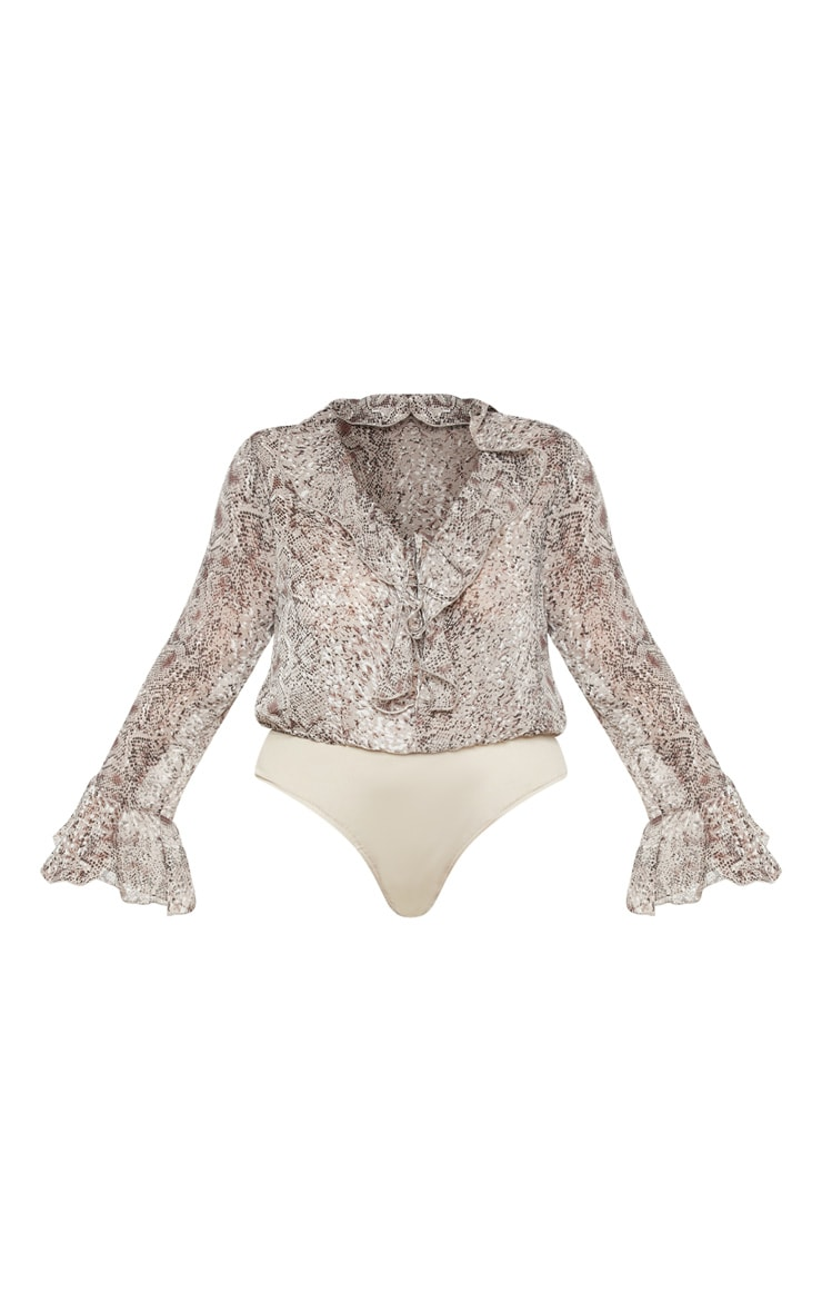 Plus Taupe Chiffon Snake Tie Front Bodysuit 3