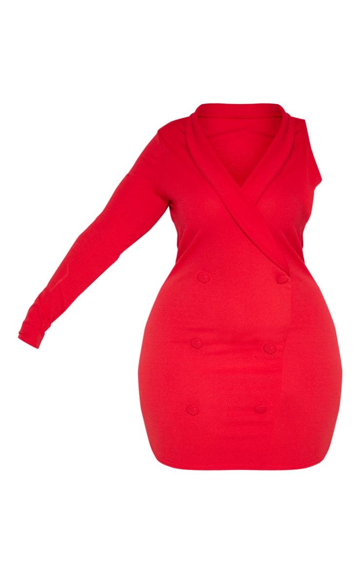PLT Plus - Robe blazer rouge à manche unique 3