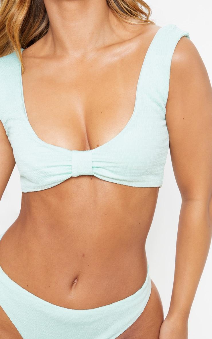 Petite Mint Bow Detail Crinkle Bikini Top 5