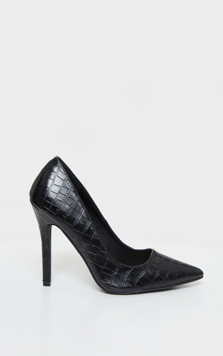 Black Wide Fit Croc Pointed Toe Stiletto Heel Court Shoes 4
