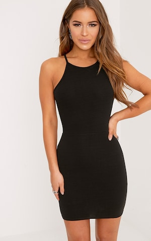 Petite Black High Neck Bodycon Mini Dress  image 1