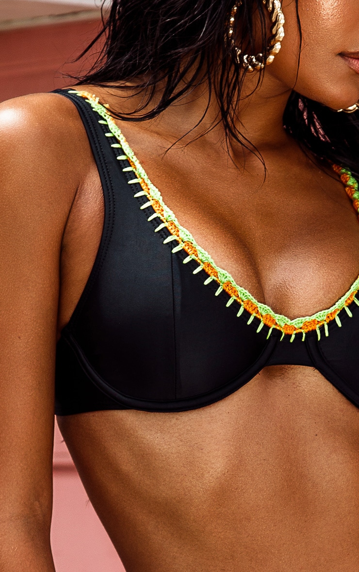 Black Underwired Crochet Trim Bikini Top 5