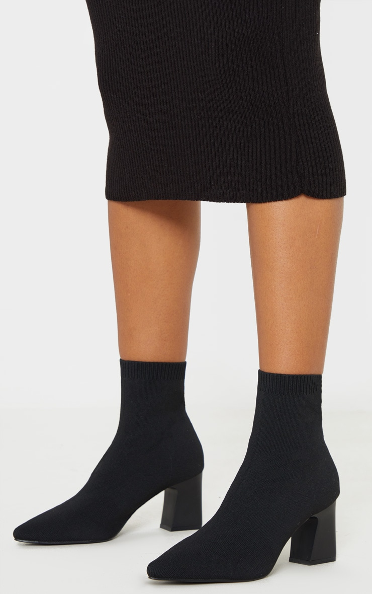 Black Point Toe Block Heel Sock Boot 2