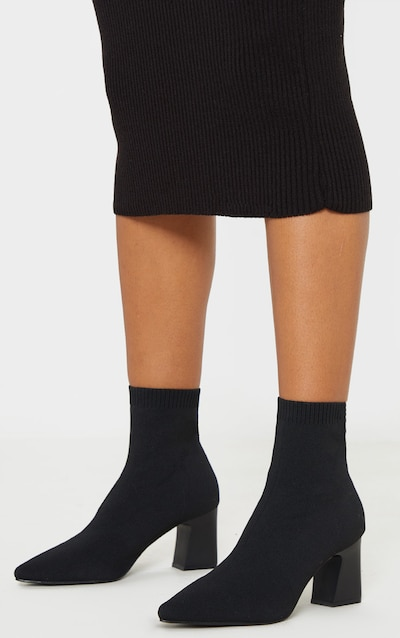 Black Point Toe Block Heel Sock Boot