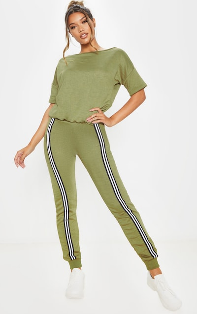 Olive Khaki Loopback Sports Stripe Jumpsuit
