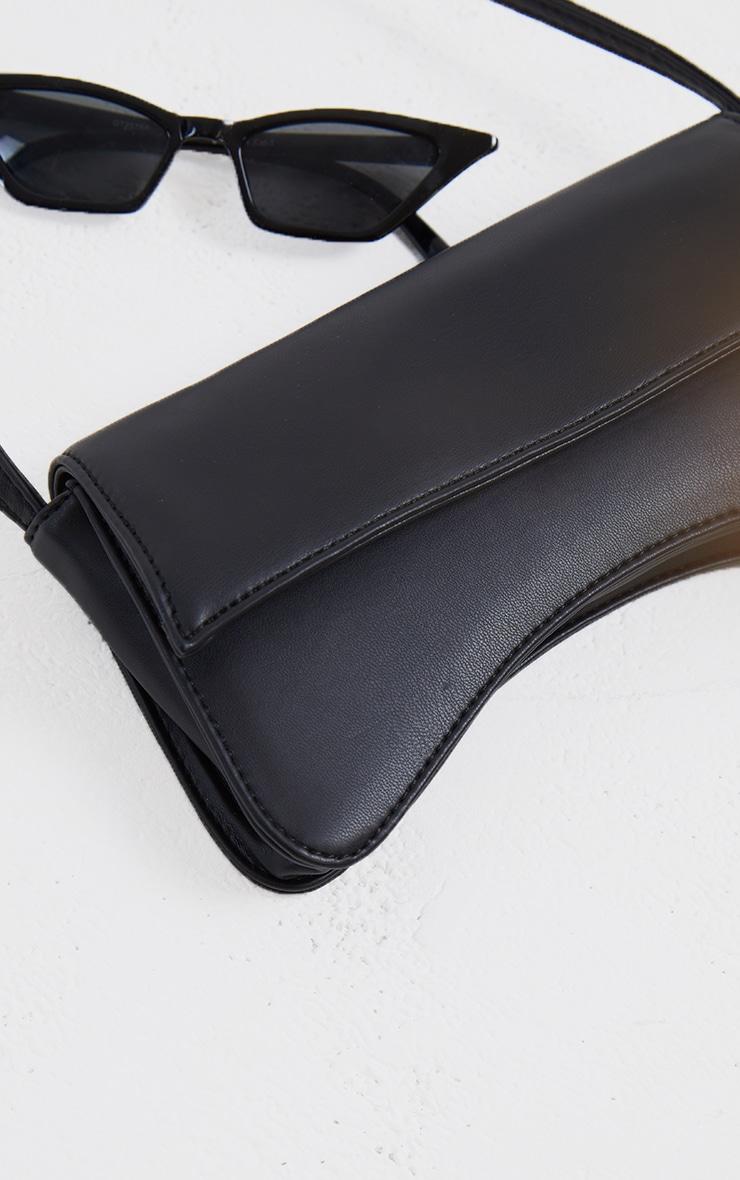 Black PU Flap Over Baguette Shoulder Bag 4