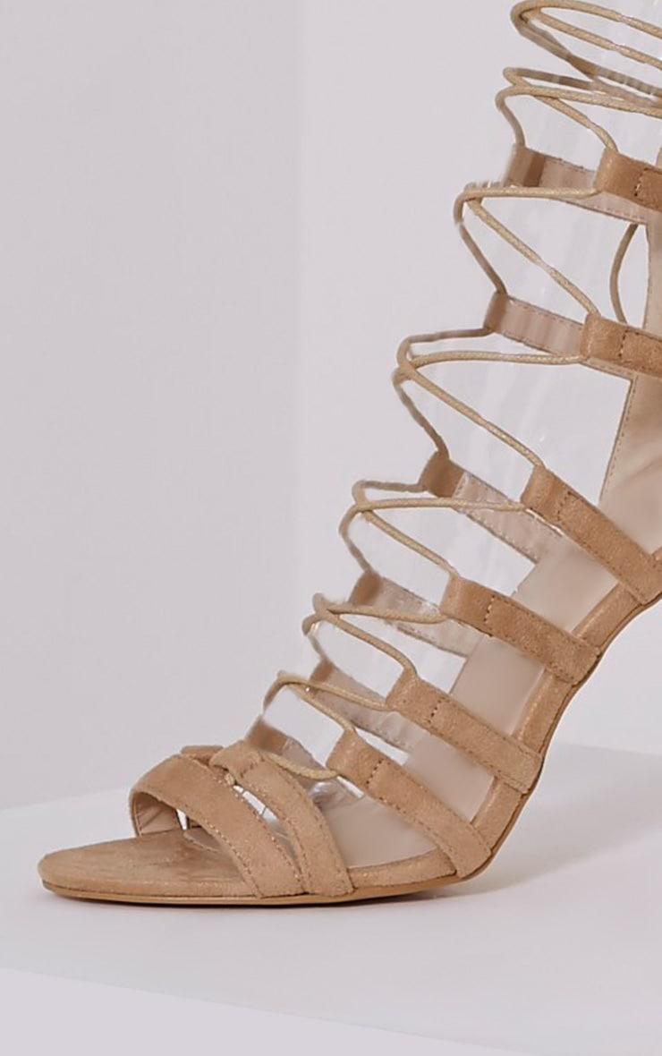 Rosah Nude Faux Suede Lace Up Heels 5