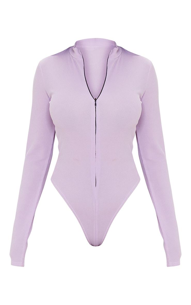 Lilac  Rib Zip Up Long Sleeve Bodysuit 5