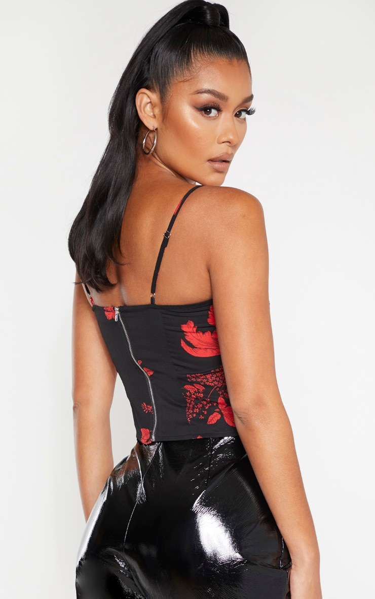 Red Floral Woven Hook and Eye Curved Hem Corset Top  2
