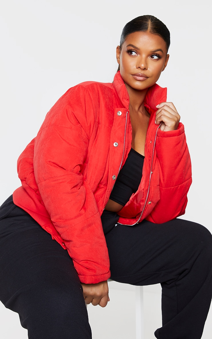 Plus Red Peach Skin Cropped Puffer Jacket 3
