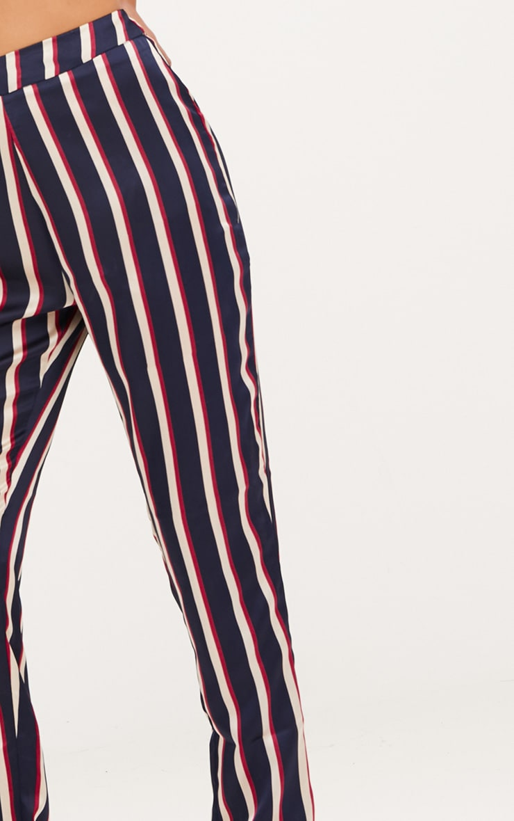 Navy Satin Diagonal Stripe Peg Trouser  5