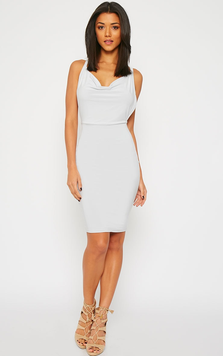 Orion Grey Slinky Cowl Neck Dress 3