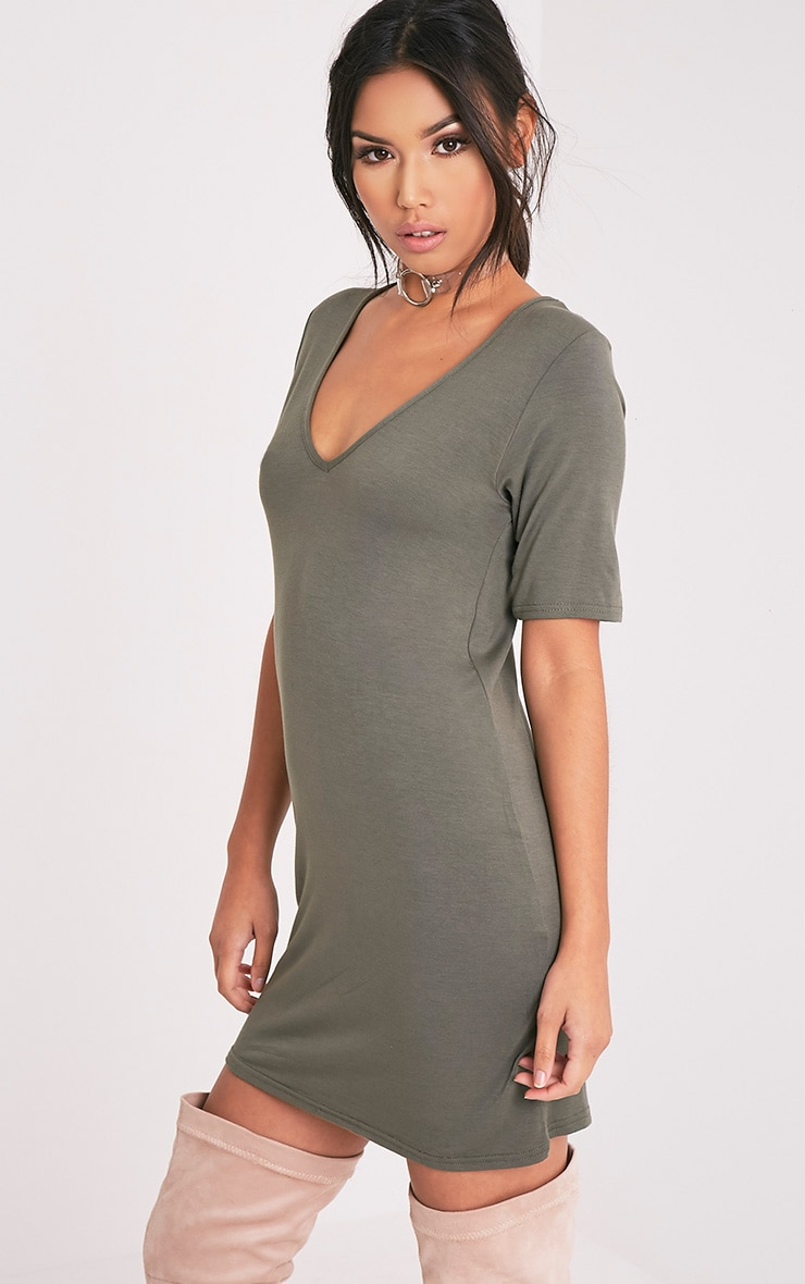 Basic Khaki Plunge V Neck T Shirt Dress 4