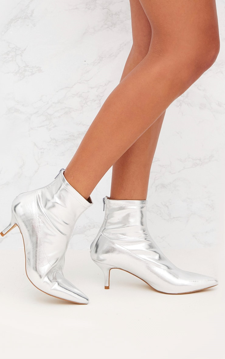 Silver Low Heel Pointed Ankle Boots 1