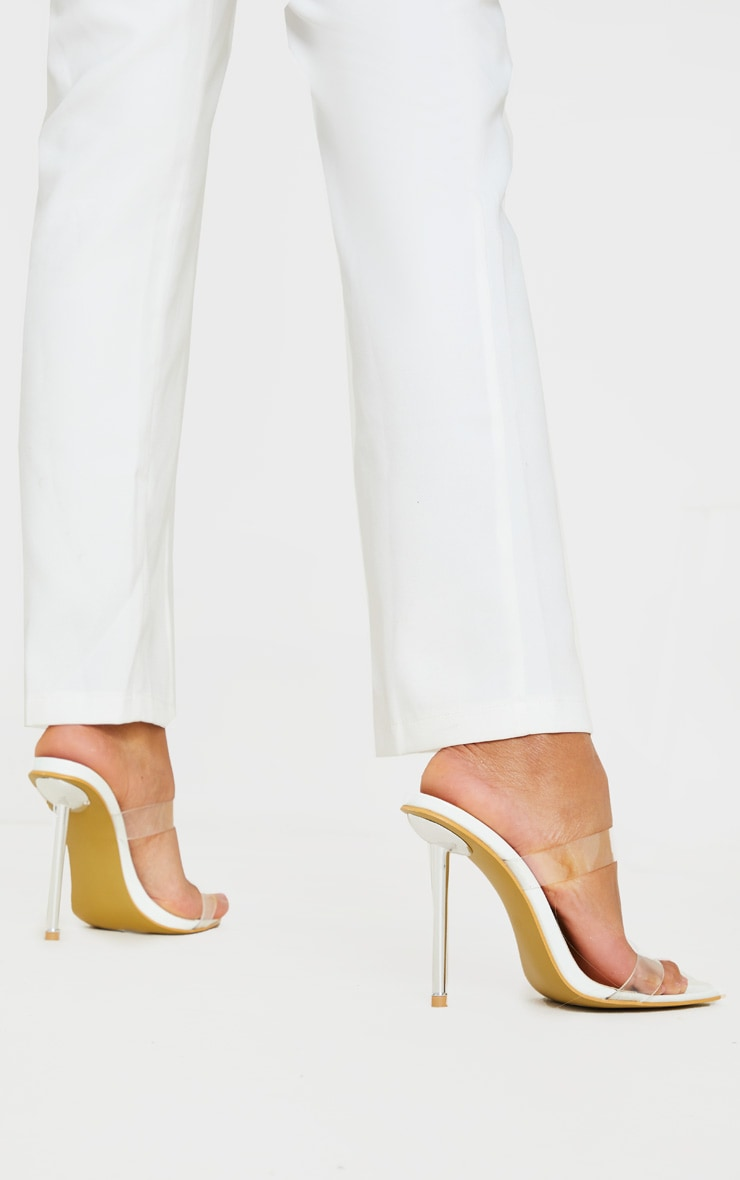 White Twin Strap Metal Heel Mule 2