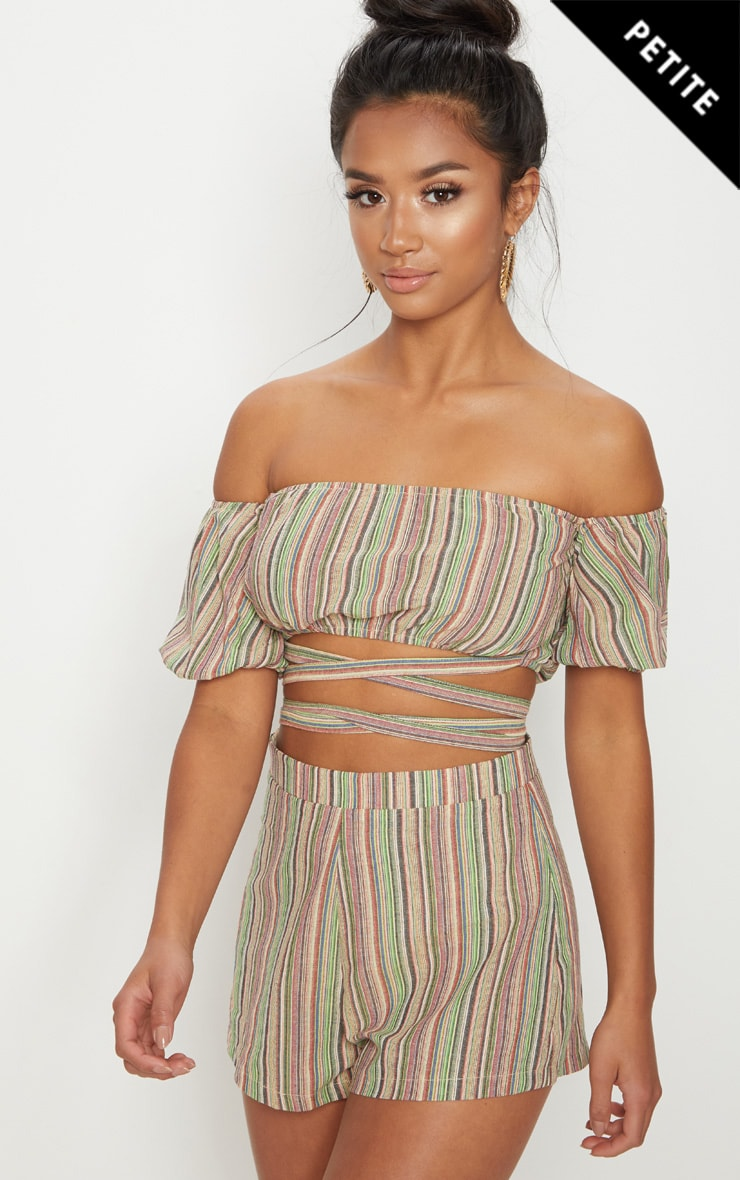 Petite Lime Striped Bardot Crop Top
