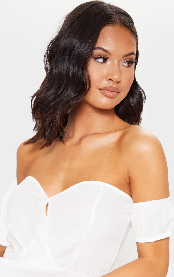 White Woven Bardot Wrap Peplum Blouse 5