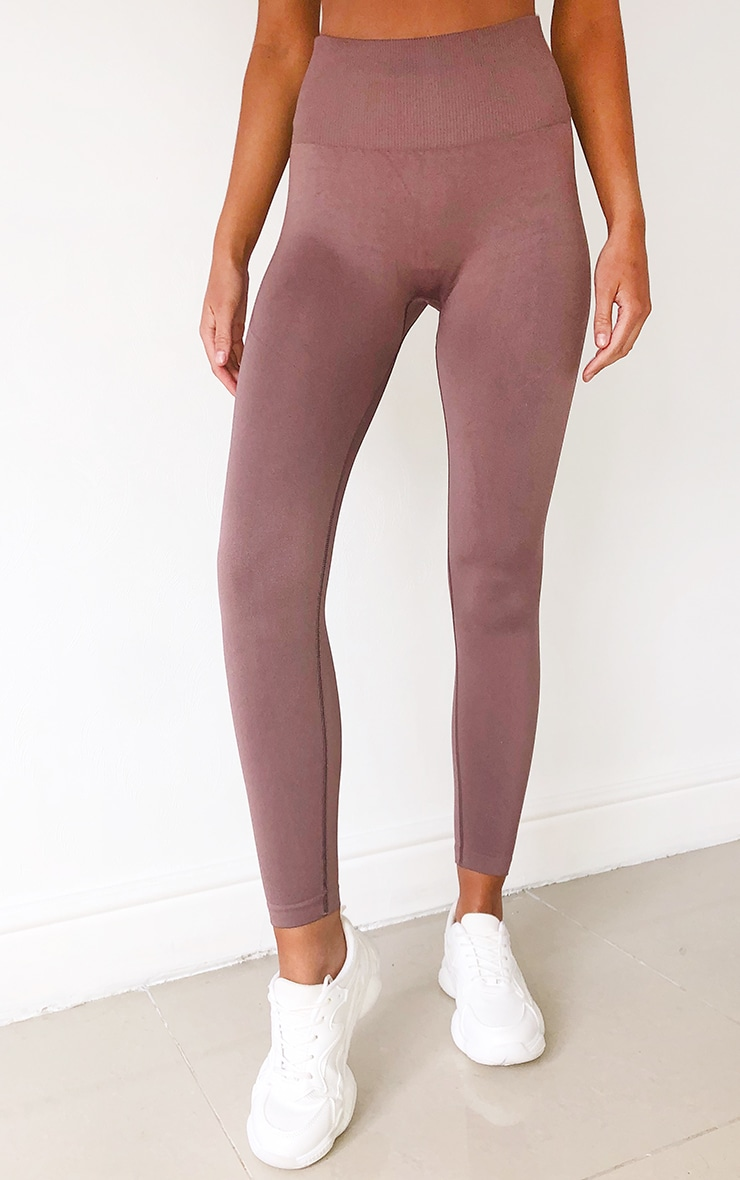 Mocha High Waist Seamless Gym Leggings 2