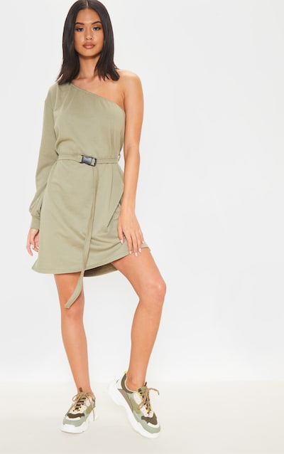 Sage Green One Shoulder Belted Jumper Dress