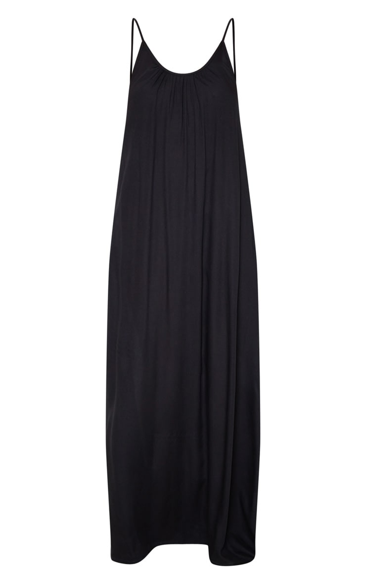 Black Low Back Oversized Maxi Beach Dress 3