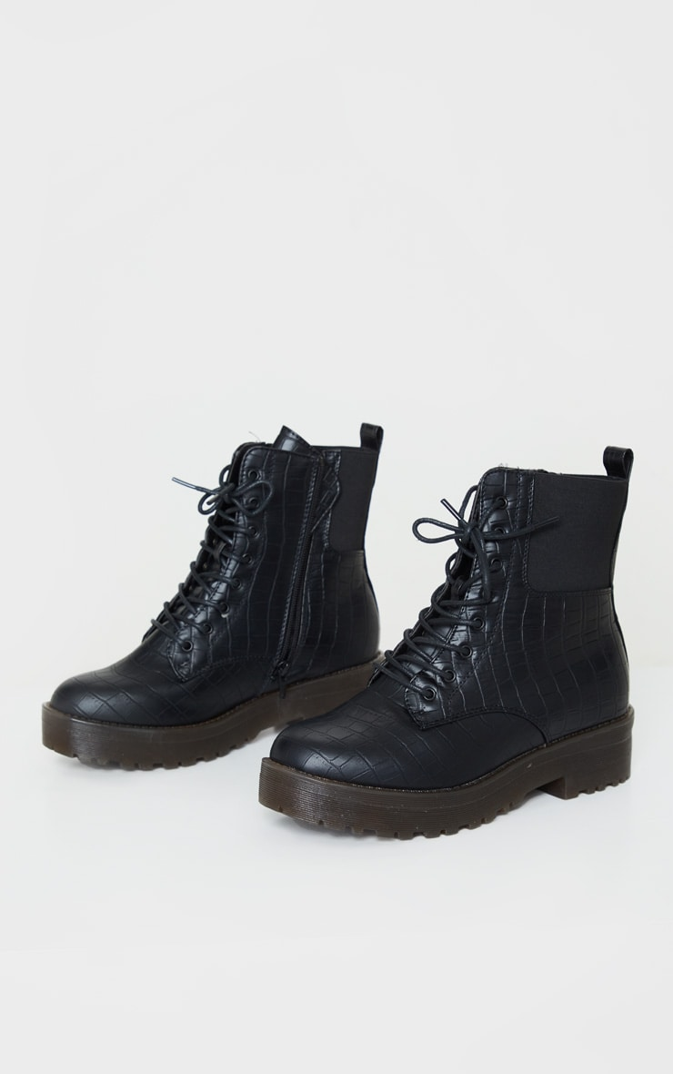 Black Croc Wide Fit Chunky Lace Up Ankle Boot 3
