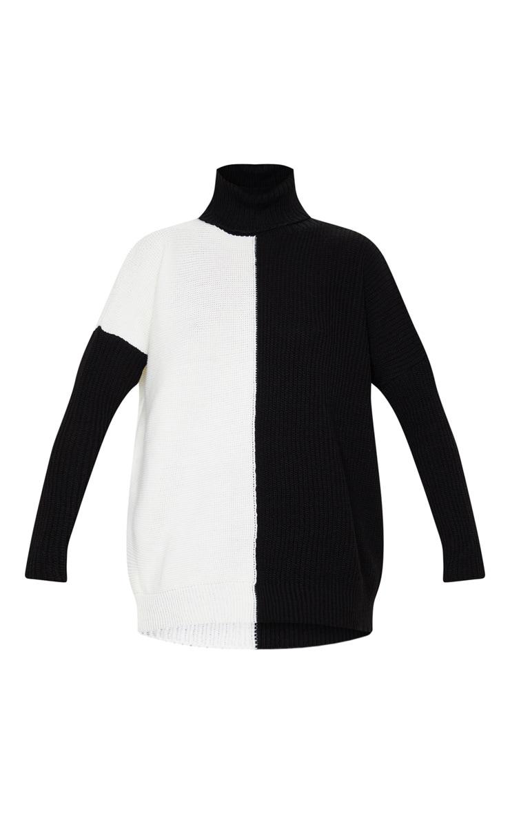 Monochrome Colour Block Roll Neck Oversized Sweater 3