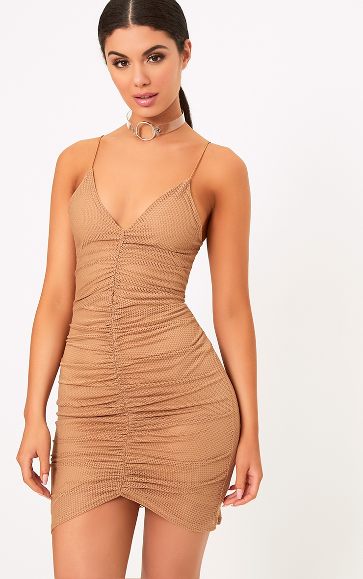 Camel Fishnet Ruched Front Strappy Bodycon Dress 1