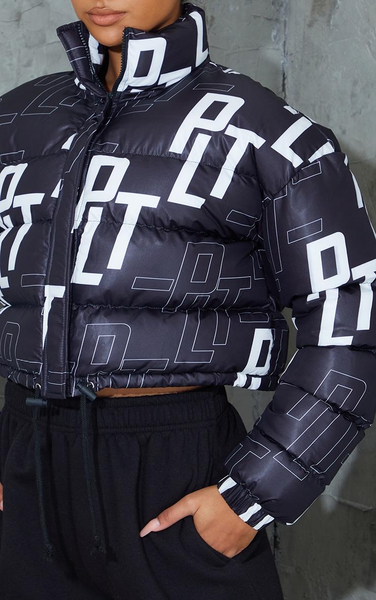 PRETTYLITTLETHING Black Retro Logo Cropped Puffer 4