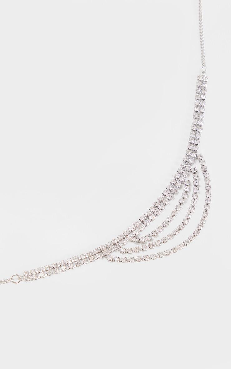 Silver Diamante Double Row Chain Drop Choker 3