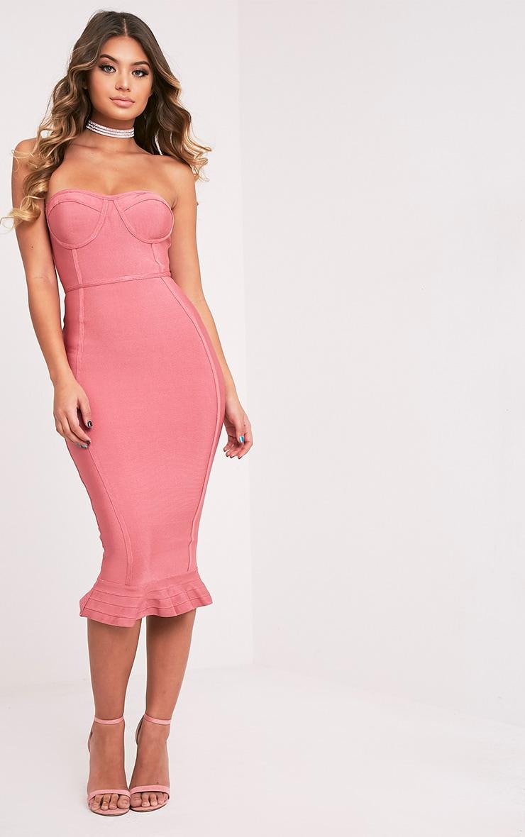 Rose Bandage Frill Hem Midi Dress 1