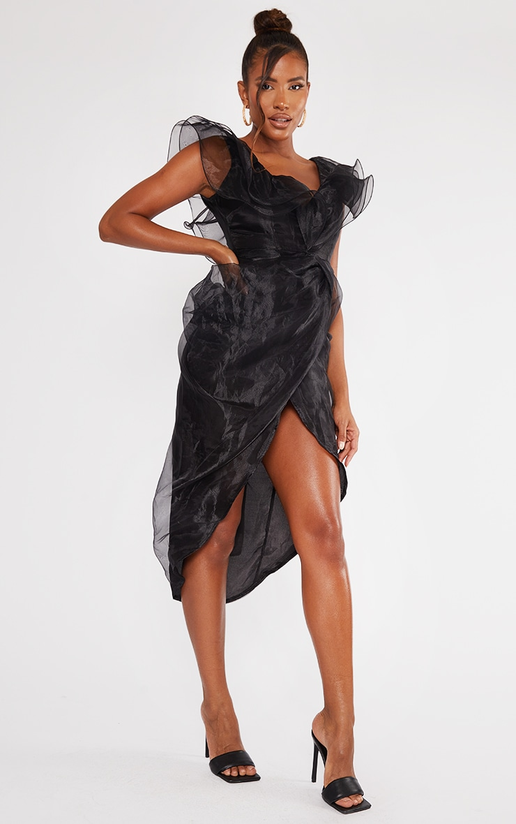 Black Organza Draped Frill Detail Midi Dress 3