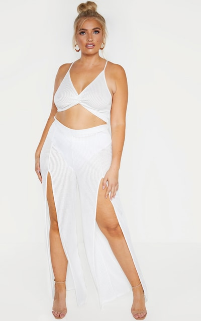 8fac0f675c2774 Plus White Textured Split Detail Wide Leg Pant PrettyLittleThing Sticker