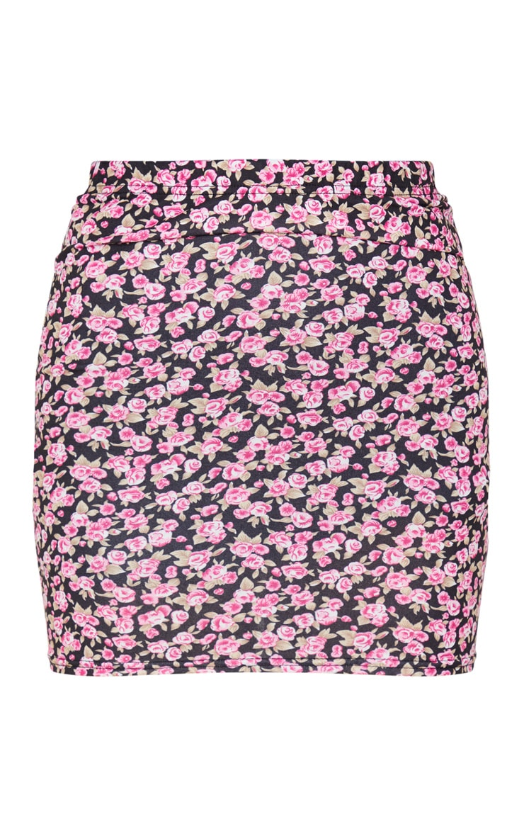Pink Ditsy Floral Jersey Mini Skirt 3