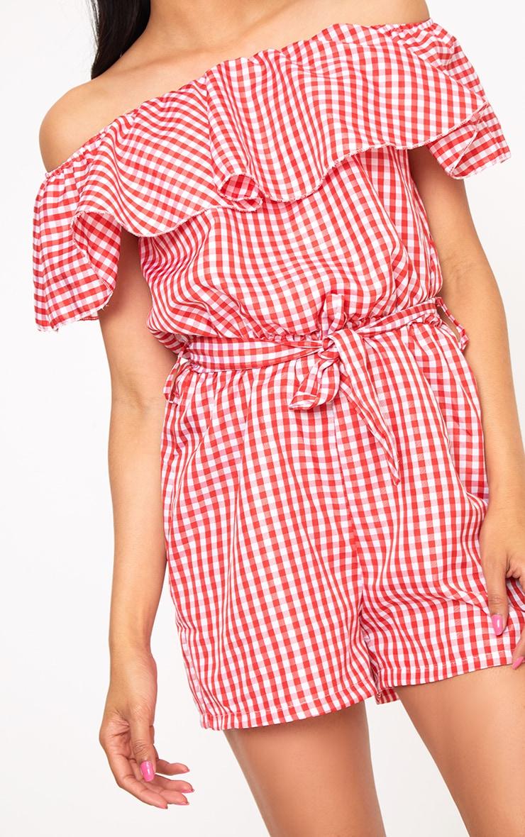 Red Gingham Bardot Shirt Playsuit 5