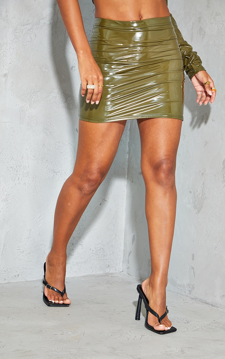 Olive Vinyl Split Side Mini Skirt 2