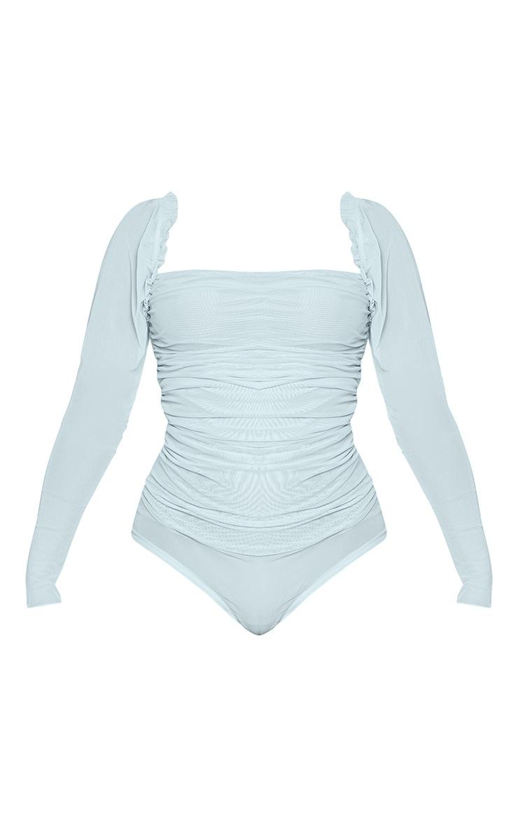 Pastel Blue Sheer Mesh Ruched Puff Sleeve Bodysuit 5