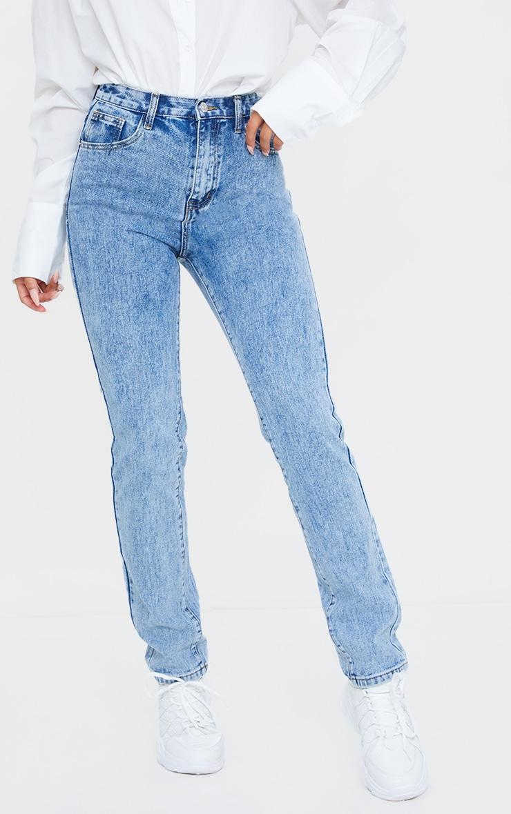 Light Blue Acid Wash Long Leg Rigid Skinny Jeans 2