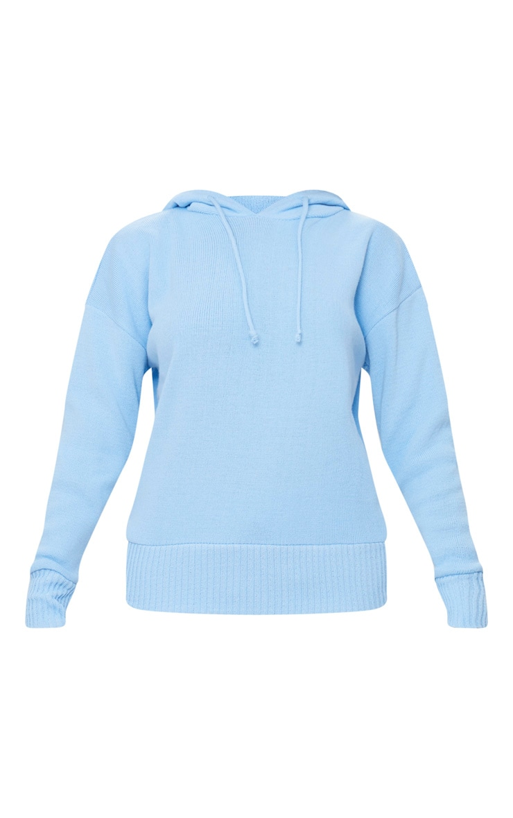 Dusty Blue Hooded Jogger Knitted Lounge Set 3