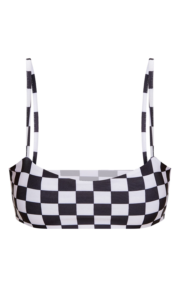 Black Checker Board Low Scoop Bikini Top 3